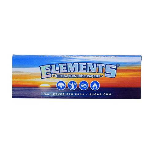 SUGAR GUM ROLLING PAPERS by Elements Rice paper with a strip of natural gum from sugar. Pressed to be incredibly thin and designed to burn ultra slowly. Elements burn with zero ash.