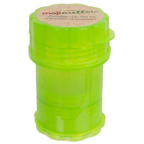 PORTABLE STORAGE CANISTER WITH GRINDER by Moji Mellow Moji Mellow's four-part lightweight storage canister keeps your cannabis safe and fresh. It comes complete with a built-in grinder.