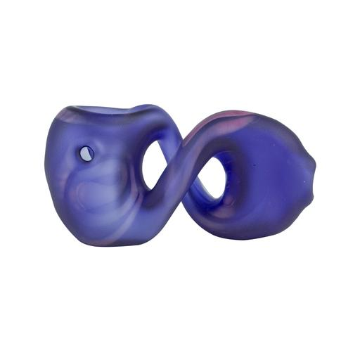 "BLUE FROSTED BUKOWSKI PRETZEL HAND PIPE by Red Eye Glass Twisted pretzel style 3.75"" borosilicate glass amber frosted hand pipe."