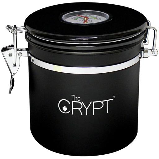 Crypt M is a stainless steel storage canister that includes an RH Stayfresh humidity pack that helps regulate and maintain the conditions inside. The airtight lid features a thermometer/hygrometer that measures internal conditions, and the inside of the canister includes a removable modular carousel.