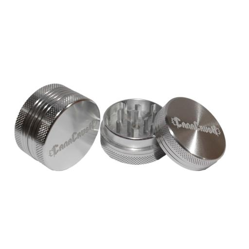 Two-piece metal grinder designed with diamond-cut teeth for scratch resistance and a neodymium magnet to keep the lid in place and odours inside.