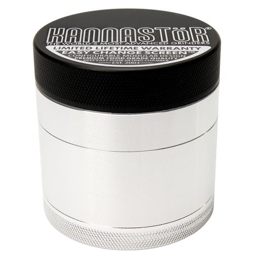 Kannastor's four-piece grinder features a magnetic airtight lid and grooved external edges for secure grip. The drop-through holes ensures that only the right sized ground dried flower fall into the container.